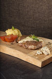 Steak and white sauce Royalty Free Stock Image
