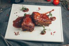 Steak. On wood background. Russia, Yekaterinburg royalty free stock photo