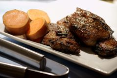 Steak and Yams for Dinner Royalty Free Stock Photo