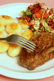Steakabendessen Stockbild