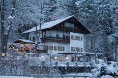 Steakhaus Fussen nell'orario invernale Fussen germany Fotografie Stock Libere da Diritti