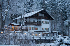Steakhaus Fussen in winter time. Fussen. Germany Royalty Free Stock Photos