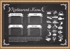 Steakhausmenü auf Tafeldesignschablone Lizenzfreie Stockbilder