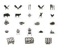 Steakhouse i grilla sylwetki textured ikony Czerń kształty odizolowywający na białym tle Zawierać grilla wyposażenie Zdjęcia Royalty Free