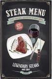 Steakmenü-Tafeldesign mit Hand gezeichneter Illustration eines Leiste Mignonsteaks auf einer Platte Stockfotos