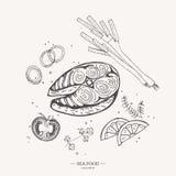 Steakrotfische Lachsmeer Meeresfrüchte Abbildung Vektor Abbildung