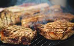 Steaks on barbecue Royalty Free Stock Photo