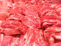 Steaks from beef and pork meat Stock Image