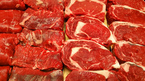 Steaks at the butcher Stock Photography