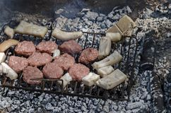 Steaks cooking over hot coals Stock Image