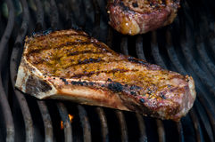 Steaks on the Grill. Rib steak, strip loin, Delmonico Royalty Free Stock Image