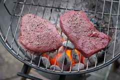 Steaks on grill with charcoal briquettes Stock Photos