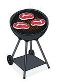 Steaks on a grill illustration Stock Photos