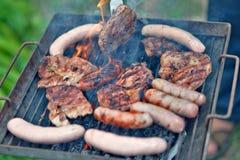 Steaks. Hot Steak on the roast stock photos