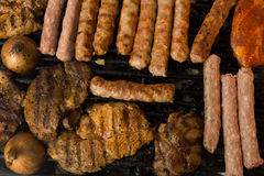 Steaks and oblong rissoles Stock Image