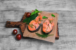 Steaks salmon fish Royalty Free Stock Photo