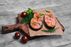 Steaks salmon fish Royalty Free Stock Image