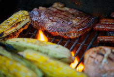 Steaks and salmon on a grill. Hot dogs, steaks and salmon on a grill Stock Images