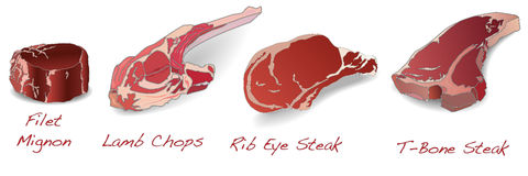 Steaks set vector isolated Royalty Free Stock Photos