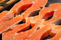 Steaks of trout Royalty Free Stock Photo