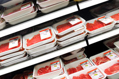 Steaks. A view from several packaged steaks at the supermarket shelves Stock Photo