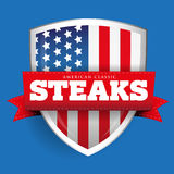 Steaks vintage shield with USA flag Stock Images