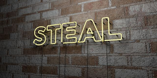 STEAL - Glowing Neon Sign on stonework wall - 3D rendered royalty free stock illustration Royalty Free Stock Photos