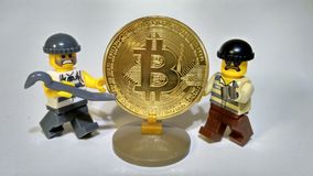 Steal Golden Bitcoin money robbery Royalty Free Stock Images