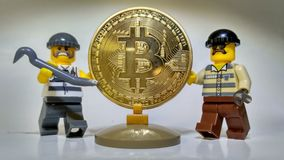 Steal Golden Bitcoin money robbery Stock Image