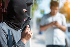 Steal men with robbery pistols Royalty Free Stock Photo