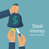 Steal money concept. Bag of money in hand, thief pickpocket with a knife in hand, cut bag and takes the money. Vector illustration flat design.  on background Royalty Free Stock Photo