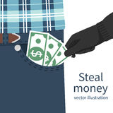 Steal money concept. Pickpocket in gloves stealing out of pocket businessman cash. Money, dollars hold in hand. Vector illustration flat design. Isolated on Royalty Free Stock Images