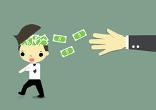 Steal money. Man who is running has a lot of money blow from his head and big hand of badman behind him Stock Images