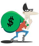Stealer. Someone is stealing money in the bank Stock Image