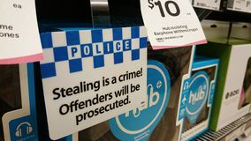 Stealing Is A Crime - A Sign In A Supermarket Stock Image