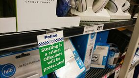 Stealing Is A Crime - A Sign In A Supermarket Royalty Free Stock Images