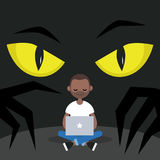 Stealing data conceptual illustration. Big yellow eyes spying behind the character`s back / Flat   illustration, clip art Royalty Free Stock Photography