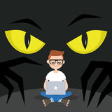 Stealing data conceptual illustration. Big yellow eyes spying behind the character`s back / Flat editable vector illustration, clip art Stock Images