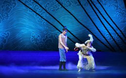 """Stealing the flute-Dance drama """"The Dream of Maritime Silk Road"""". Dance drama """"The Dream of Maritime Silk Road"""" centers on the plot of two royalty free stock photos"""