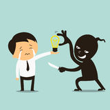 Stealing idea. Thief stealing idea, represent with lightbulb, from crying businessman Royalty Free Stock Photos