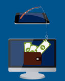 Stealing the money. Computer with money in wallet and mobile phone with a fishing rod Royalty Free Stock Images