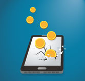 Stealing Money from Smart Phone ,  expensive payment of communications service Stock Photography
