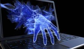 Stealing persoonsgegevens door een laptop concept vector illustratie