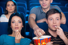 Stealing popcorn. royalty free stock photography