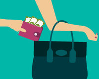 Stealing a purse with money. From handbag. Vector illustration Stock Photo