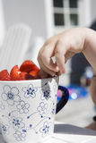 Stealing Strawberries Royalty Free Stock Images
