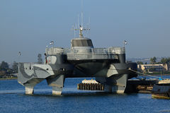 Stealth Boat docked. With Coronado in the background royalty free stock photo
