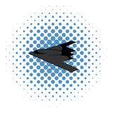 Stealth bomber icon, comics style. Stealth bomber icon in comics style on a white background Stock Photo