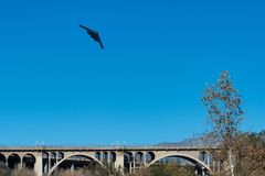 B2 Stealth Bomber flyover Colorado Street Bridge in Pasadena, California. The stealth called Spirit of New York finishing a flyover of Rose Bowl stadium on New royalty free stock photo