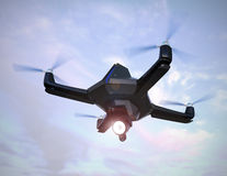 Stealth drone equip with search light flying in the sky. 3D rendering image Stock Images